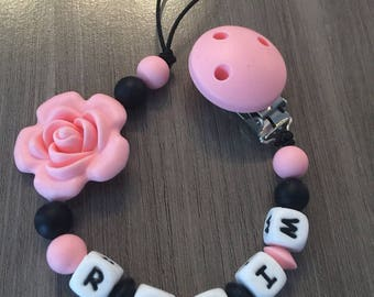 PACIFIER clip, black and coral pink - IDEAL birth gift