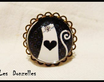 Bronze lace finish - a love of cat - cabochon ring