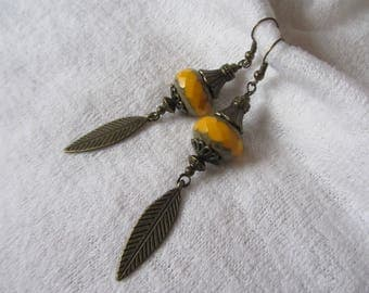 Dangling Pearl bright yellow Czech glass rondelle, bronze metal chandelier earrings in yellow and bronze leaf charm