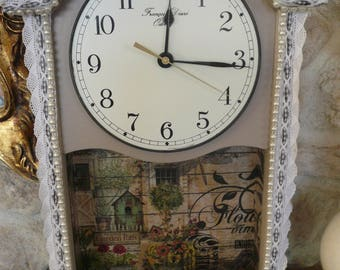 Wooden wall clock revisited spirit country chic pattern vintage