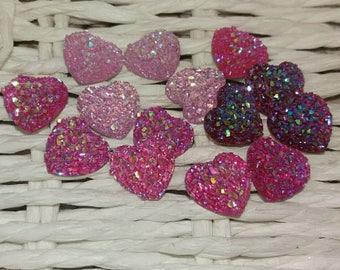 set of 14 embellishments hearts pink glitter