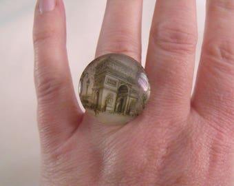 LIQUIDATION glass cabochon ring 25 mm triumphal arch Paris