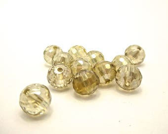 37 champagne 10mm faceted Crystal beads