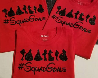 Disney Princess Inspired #SquadGoals Tee - Ladies and Girls Sizes Available