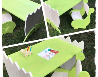 "Children's chair and table ""dinosaur"""