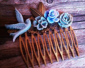Gray flower comb, wedding, vintage wedding hair accessory