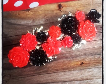 Red and Black colored Barrette, wedding, vintage wedding hair accessory