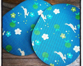 Pair of 2 elbow pads on rabbits and flowers, blue and green