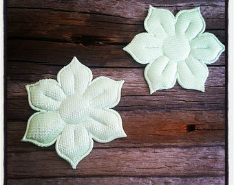 set of 2 appliques for sewing or craft, pastel green flowers