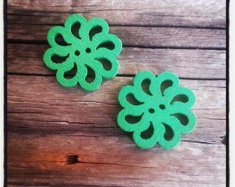 set of 2 fancy wood, rosette, green flower buttons