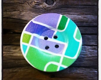 Round wooden geometric pattern - 4 holes buttons wholesale