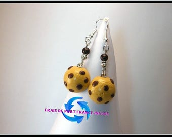 Brioche chocolate polymer clay and magic Pearl nugget earrings