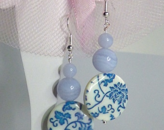 Chamante earrings mother of Pearl and blue chalcedony