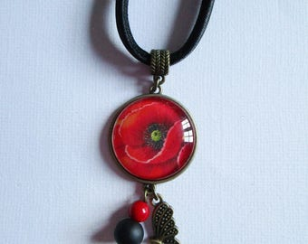 """""""Poppies"""" bronze cabochon necklace, costume jewelry"""