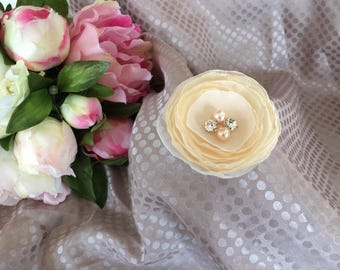 Flower 6.5 cm in beige/ivory chiffon with pearls and rhinestones