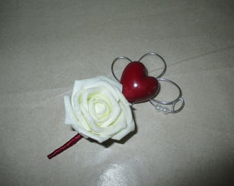 Brooch-wedding - ivory and Burgundy boutonniere
