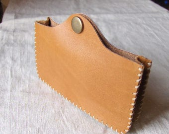 Beige Handmade Leather phone case