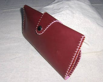hand stitched red leather pouch