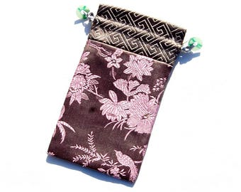 Japan spirit * cell phone Embroidered silk sleeve * accessory bag * Taupe and pink