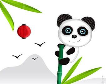 Coupon Polycoton T15- Panda sur bambou