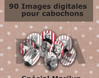 90 digital images for cabochon jewelry - Marilyn Monroe - printable