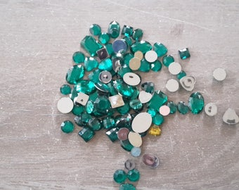 Rhinestone color green hearts square rectangle oval round