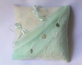 Linen ring bearer pillow lace personalized