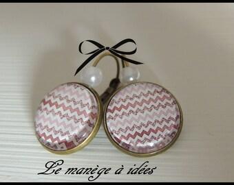 "Earrings / sleeper/cabochon ""romantic bordeaux"" bronze metal"