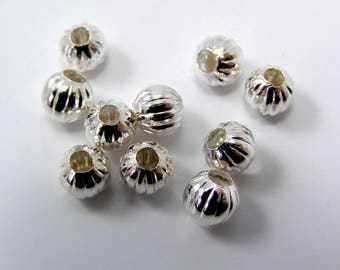 Separator beads silver plated 6 mm hole 2.2 mm set of 10