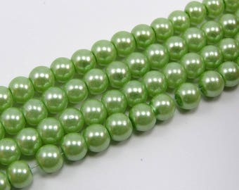 Set of 25 beads 6 mm glass Pearl Green