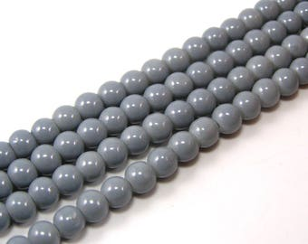 Set of 20 6 mm glass pearls grey brilliant M