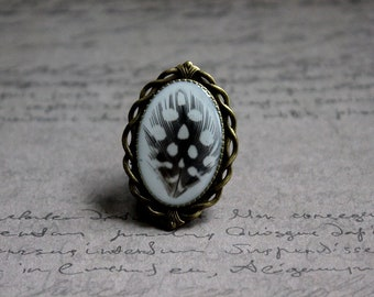 Ring Bronze Retro resin and feather