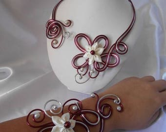Wedding ARIELLE necklace & bracelet set in Burgundy and ivory