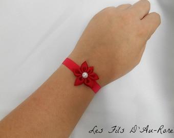 Satin with Red satin flower bracelet