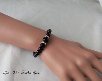 """""""CHLOE"""" wedding bracelet in black pearl beads"""