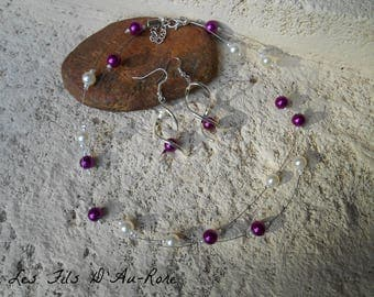 Tulip 2 parts with beads purple and Pearl adornment