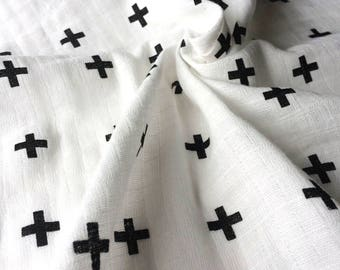 Double gauze organic cotton OekoTex / CROSS / cut 25cm