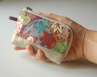 Wallet, card holder with Japanese fabric - purple
