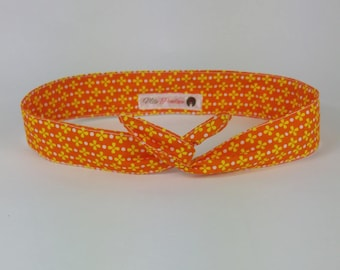 headband flower orange and white cotton