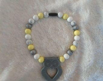 Yellow and Grey Owl Teether