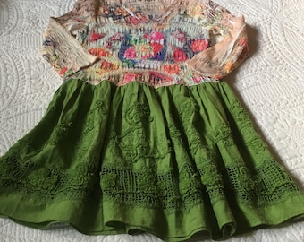 Upcycled Recycled Repurposed Boho Tunic/Top/Dress SM