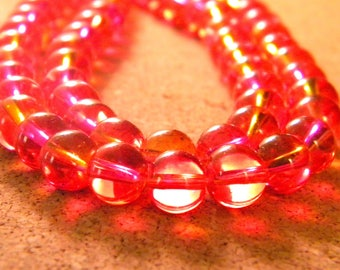 30 glass beads 6 mm - translucent 2 tones - red - PG303-4