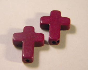 5 pearls synthetic cross howlite - howlite-violet - 16 mm AC27