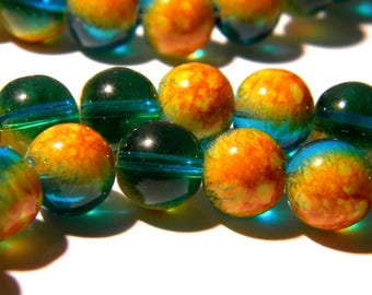 20 glass beads 10 mm - translucent 2 tones - yellow orange and blue - green glass - F194 5 bead
