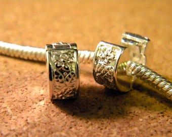 Clip clasp 10. mm - silver - blocker stopper for European bead bracelet style pandor @ 10.5 x 6mm - D13