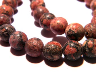 10 beads-Red - 8 mm gem gemstone PG243 12 leopard Jasper