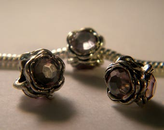 bead charms European - 3 - pale pink Crystal rhinestones - silver - 10 x 8 mm C35-4