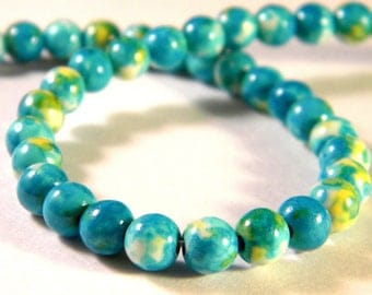 25 beads Malaysian jade 6 - turquoise - gem stone - A-PP-14 mm