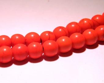 20 way howlite-8 mm beads - orange-PG21
