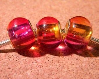 2 bead charm European - glass 2-tones - 15 x 12 mm - pink-orange-D86-4